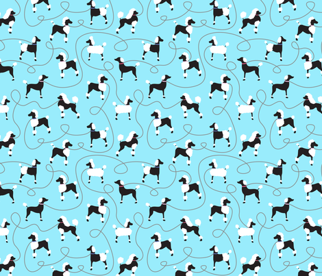 Oodles of Poodles on Blue fabric by vintage_style on Spoonflower - custom fabric