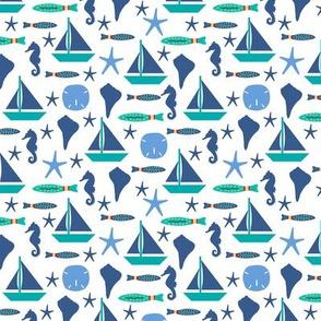 Beach Sailing White Blue Small