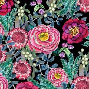 Dark Floral // Winter Floral // Watercolor flowers