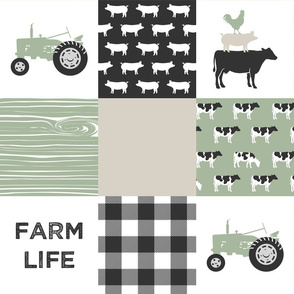 farm life - light sage green and tan (solid)  C18BS