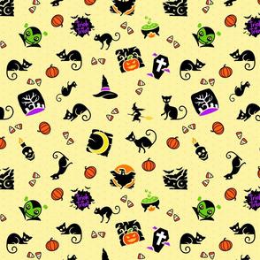 Halloween Spooks On Yellow