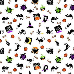 Halloween Spooks On White