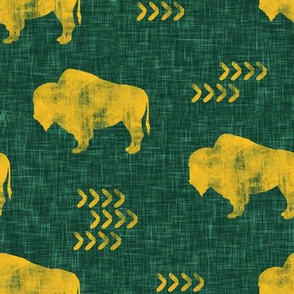 distressed buffalo on green  linen - gold C18BS