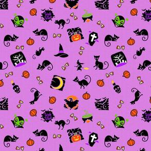 Halloween Spooks On Purple