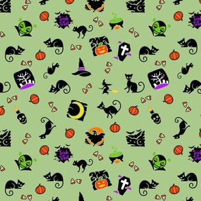 Halloween Spooks On Green