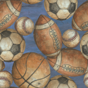 Be the Ball Sports - Baseball, Football, Soccer and Basketball on Blue