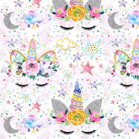 unicorn confetti white glitter sparkles fabric by parisbebe on Spoonflower - custom fabric