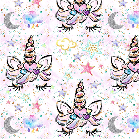 "Unicorn hearts white confetti sparkles 3"" med size fabric by parisbebe on Spoonflower - custom fabric"