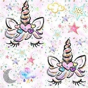 """Unicorn hearts white confetti sparkles 3"""" med size"""
