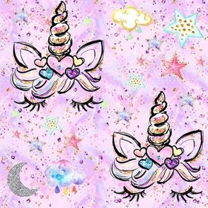 unicorn hearts pink confetti stars clouds