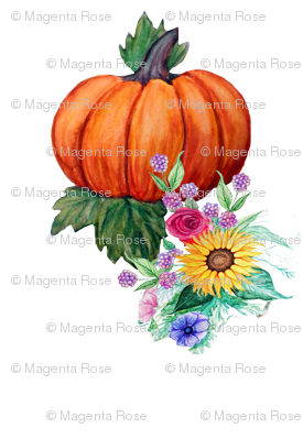 Pumpkins and  flowers // watercolor fall floral