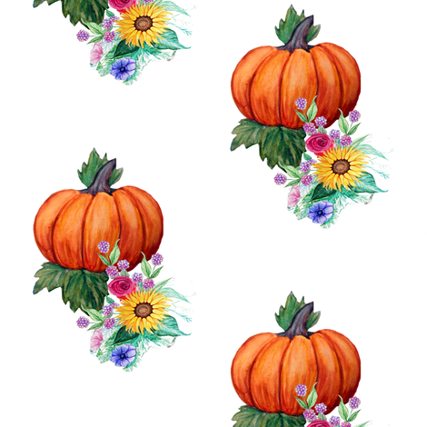 Pumpkins and  flowers // watercolor fall floral fabric by magentarosedesigns on Spoonflower - custom fabric
