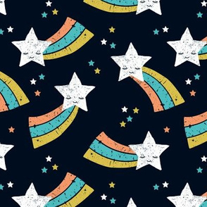 Shooting star and rainbow sky kawaii japanese style stars illustration kids gender neutral