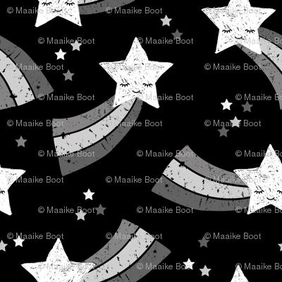 Shooting star and rainbow sky kawaii japanese style stars illustration kids gender neutral black