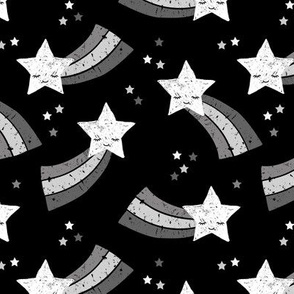 Shooting star and rainbow sky kawaii japanese style stars illustration kids gender neutral black