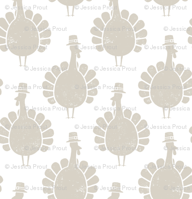 Turkeys - beige on white