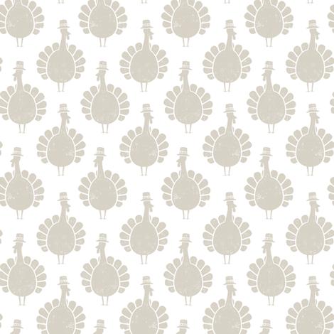Turkeys - beige on white fabric by littlearrowdesign on Spoonflower - custom fabric