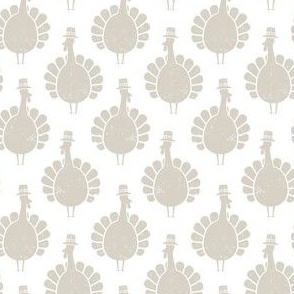 Turkeys - beige on white