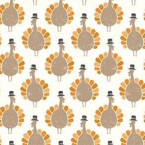 Turkeys - multi (tan) on cream