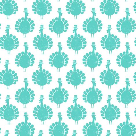 Turkeys - teal fabric by littlearrowdesign on Spoonflower - custom fabric