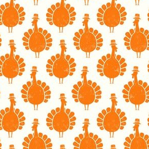 Turkeys - orange on cream