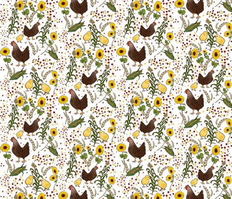 Chicks and Hens fabric by rachel_wilson on Spoonflower - custom fabric
