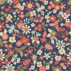 Insects and bloom navy