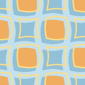 orange blue gold retro squares