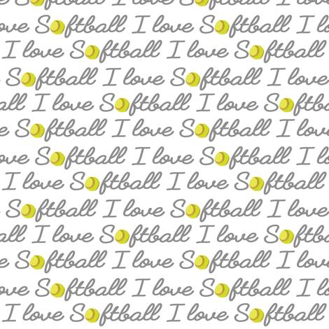 I Love Softball fabric by vintage_style on Spoonflower - custom fabric