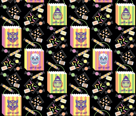 Treat Time! in Black fabric by pinkowlet on Spoonflower - custom fabric