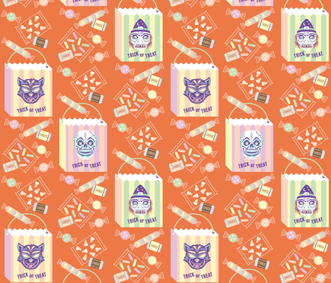 Treat Time! in Orange fabric by pinkowlet on Spoonflower - custom fabric