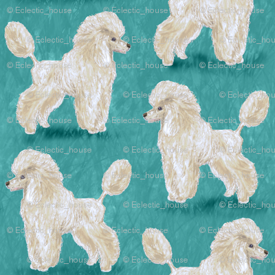 Custom White Poodles on Medium Teal