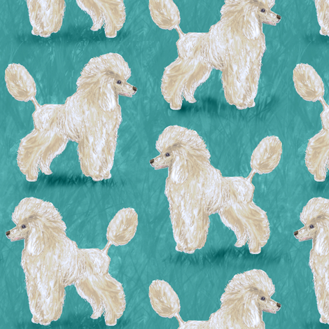 Custom White Poodles on Medium Teal fabric by eclectic_house on Spoonflower - custom fabric