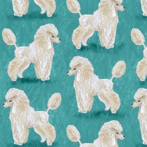 Custom White Poodles on Medium Teal
