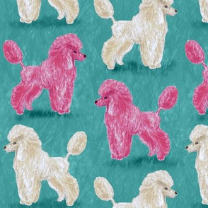 Custom Hot Pink and White Poodles on Medium Teal