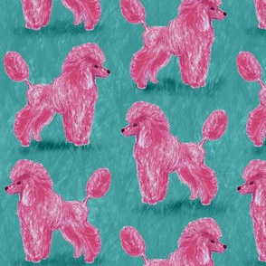 Custom Hot Pink Poodles on Medium Teal