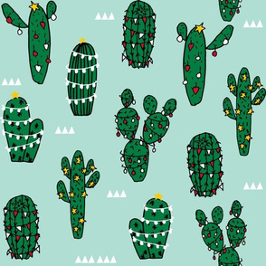 LARGE - christmas cactus // cute xmas holiday cacti fabric cute cactus fabrics