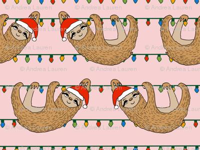 LARGE - christmas sloth // cute xmas holiday christmas fabric, sloth, father christmas, santa claus, cute animals - pink