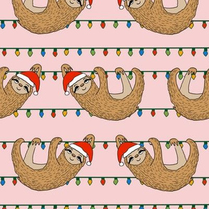 LARGE - christmas sloth // cute xmas holiday christmas fabric, sloth, father christmas, santa claus, cute animals - pink
