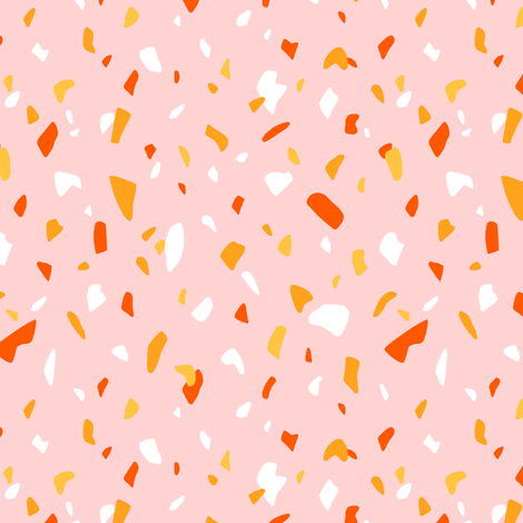 Terrazzo Texture Pink Pattern Fabric By Stolenpencil On Spoonflower
