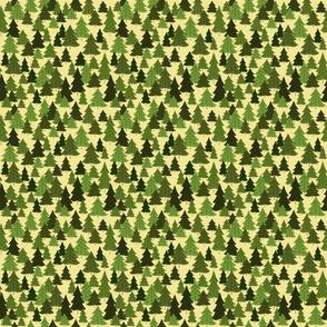 Pine Woods On Yellow