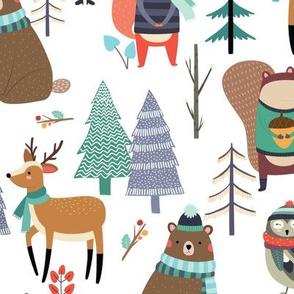 XL Winter Forest Animals - Bears Deer Fox Owl Kids Woodland Design - GingerLous