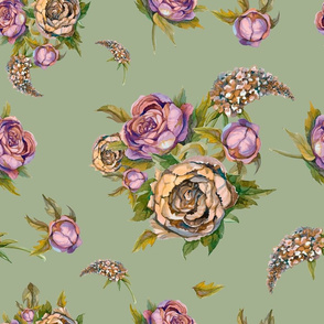 Floral seamless pattern. Watercolor flowers. Roses, peonies, lilacs. Vintage bouquets of flowers. Wedding bouquet. Pastel color.