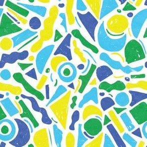 Abstract Paper Cutouts Textured Green Blue Yellow