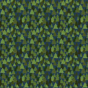 Pine Woods On Dark Blue
