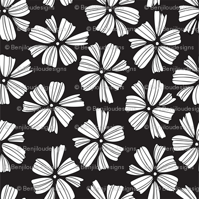 little white petals on soft black