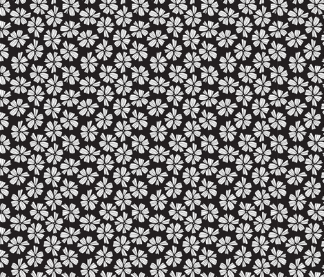 little white petals on soft black fabric by benjiloudesigns on Spoonflower - custom fabric