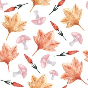 pattern of maple leaves, mushrooms, wildflowers