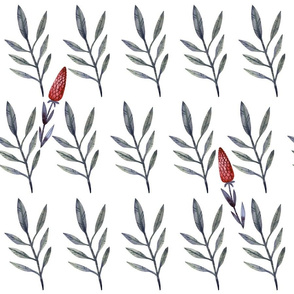 A pattern of twigs with leaves and a red flower
