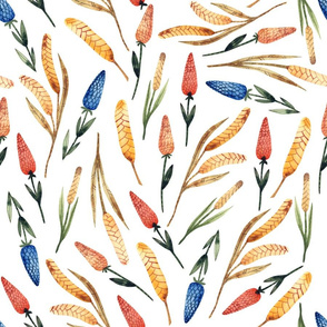 Watercolor autumn floral pattern